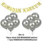 Glitter Gold Paper Banner Balloons Party Decor Set RAMADAN KAREEM EID MUBARAK UK