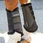 Shires Arma Fur Trimmed Unisex Horse Boot Brushing - Black All Sizes