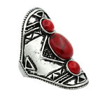 Vintage Red Turquoise  Ring For Women Antique Silver Plated Fashion Jewelry