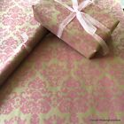 Pink Baroque Natural Kraft Wrapping Paper 2 /5/10 mtrs optional ribbon & tags