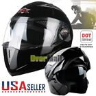 US DOT Full Face Motorcycle Dual Visor Modular Motocross Racing Helmet + Headset