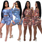 Women Sexy Crop T-shirt TOP Bat-sleeve+shorts camouflage printed set S-2XL CM216