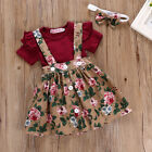 3PCS Newborn Infant Baby Girl Outfits Clothes Set Romper Tops +Strap Skirt Dress