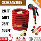 Red 3X Stronger Deluxe 25 -100 Feet Expandable Flexible Garden Water Hose+Nozzle