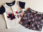 NWT Patriotic July 4th 2 Piece Boy's Top & Shorts Set Red White Blue 3-6 6-9 Mo.