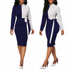 Women Casual Dresses Long Sleeve Office Wear Bodycon Midi Skirt Evening Cocktail
