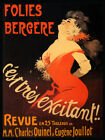Exciting Woman Red Dress Folies Bergere Theater Show Vintage Poster FREE S/H