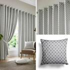 Grey Eyelet Curtains Lined Geometric Jacquard Ready Made Ring Top Curtain Pairs