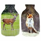 HOT WATER BOTTLE - Arctic Fox or Stag Print Fleece Cover - Same Day Despatch