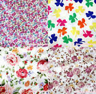 Rustic Rainbow Clover Rose Hot Pink Small Floral Hand Craft Satin Fabric 1 Yard