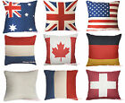USA UK AU Canada Germany Swiss France Country Flag Linen Cushion Cover Home Deco