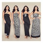 NEW AVON REVERSIBLE LADIES MAXI BLACK PRINT DRESS SIZE S,M,XL RRP $47.99