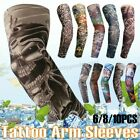 6/10PCS Fake Temporary Tattoo Cooling Men Women Arm Sleeves UV Sun Protection