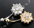 Belly Bar Flower Navel Button Ring Stud Body Piercing Surgical Steel Gold/Silver