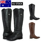 SheSole Women's Leather Knee High Riding Boots Flat Tall Wide Calf Shoes
