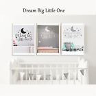 """Removable """"Dream Big Little One"""" Wall Sticker Decal Quote Nursery Bedroom Decor"""
