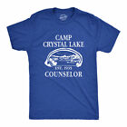 Mens Camp Crystal Lake T shirt Funny Shirts Camping Vintage Horror Novelty Tees image