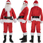 US Plus 5Pcs Suit Xmas Christmas Santa Claus Costume Adult Outfits Fancy Dress