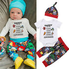 USA 3Pcs Kids Newborn Baby Boy Romper Tops +Long Pants Hat Outfits Clothes 0-24M