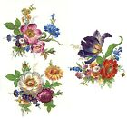 3 Meissen Wild Flower Bouquets Select-A-Size Waterslide Ceramic Decals  272 Bx image