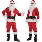 Christmas Santa Claus Costume Fancy Dress Adult Suit Cosplay Party Outfit 5PCS