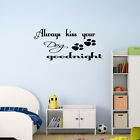 Kiss Your Dog Goodnight Wall Decal Quote Lettering Sticker Art Pet Decor Sign