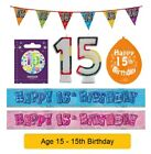 AGE 15 - Happy 15th Birthday Party Banners Balloons Badges Candles & Decorations