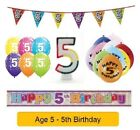 Happy 5th Birthday AGE 5 Party Balloons Banners Badges & Decorations Helium (1C)