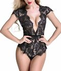 Anyou Women Lingerie Lace Teddy Features Plunging Eyelash and Snaps Crotch S-XXL