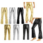 Mens Faux Leather Shiny Long Pants Tight Trousers Leggings Disco Stage Clubwear