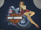 nwt HARLEY DAVIDSON *Wheel Babe* Navy Blue Pin Up Sleeveless Muscle Tee Shirt $24.99 USD on eBay