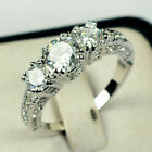 Wedding Gifts Oval Cut White Topaz Gemstone Silver Ring Gift Size5 6 7 8 9 10 11 image