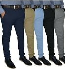 Внешний вид - Mens Slim FIT Stretch Chino Trousers Casual Flat Front Flex Full Pants