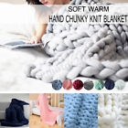 Warm Handmade Large Luxury Chunky Knit Blanket Wool Thick Yarn Knitted Throw Bed image