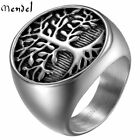 MENDEL Mens Stainless Steel Celtic Tree of Life Band Ring Black Silver Size 7-15