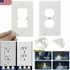 2 Plug Wall Outlet Cover Plate With LED Night Light Hallway Bedroom Bathroom New