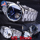 Winner Blue Ocean Geometry Design  Mechanical Watch Transparent Skeleton Dial US image