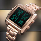 SKMEI Mens Luxury Stainless steel Square Dial Electronic Sport Alarm Wrist Watch