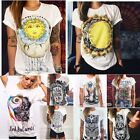 Fashion Summer Boho Women Casual Short Sleeve Cartoon Cotton T-Shirt Blouse Tops