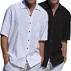 Mens Short Sleeve Linen Loose Shirt Casual Shirt Breathable Soft V-Neck Top USA