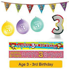 Age 3 - Happy 3rd Birthday Party Balloons Banners & Decorations