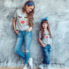 Family Mother And Daughter Matching Clothes Eyelash Printed T-Shirt Tops Blouse