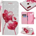 Red Rose PU Leather Wallet Case Flip Cover Stand Card Slot For All Phones LG
