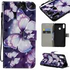 Purple Butterfly Leather Wallet Case Flip Cover Stand Card Slot For All Phones