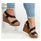 Womens Platform Wedge Heels Sandals Ladies Summer Casual Ankle Strap Shoes Size