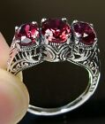 Ruby Sterling Silver Filigree Edwardian/Deco Reproduction Ring Made To Order