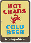 Hot Crabs & Cold Beer Sign,Custom Seafood Shack Chef Name Metal Sign ENSA1002443