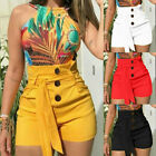 Summer Women Lady Plus Size High  Button Shorts Stretch Hot Short Pants