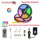 5M RGB Waterproof LED Strip Light SMD 44 Key Remote 12V US Power Full Kit 5050