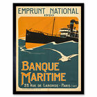 Lessieux French WWI Maritime Bank Ship Advert Framed Wall Art Poster